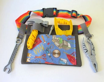 Boys Tool Belt, Gardening Belt, Outdoor Toy, Childs Tool Caddy