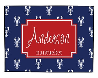 Personalized Nautical Door Mat Custom Lobster Coastal Doormat  Indoor Outdoor Floor Rug Welcome Mat Boat Decor