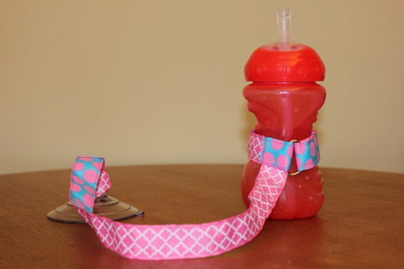 Bottle Tether, Toy Tether, Sippy Strap with Suction Cup- Aqua & Pink Glitter Dots/Pink Quatrefoil
