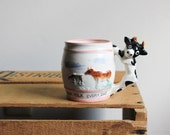 1950's Child's Milk Cup / 'I Drink Milk Every Day' Children's Mug / Ceramic Cow Cup