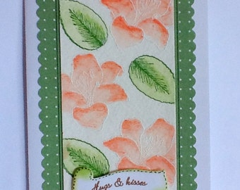 Hand made cards: Stampin Up cards - watercolor - lillies - flowers - hugs and kisses - green - orange - hand stamped - greeting cards