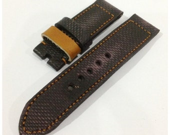 Ready Made Handmade Vintage Black/Purple Leather Strap Band with buckle for Panerai or big watch