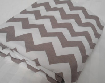 """Baby Blanket Personalize Gray Chevron with White Minky, Girls and Boys, 29"""" x 35"""", Custom Embroidery Car Seat Receiving Stroller Blanket"""