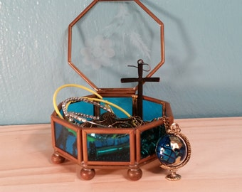 Copper & Etched Glass Octagon Box