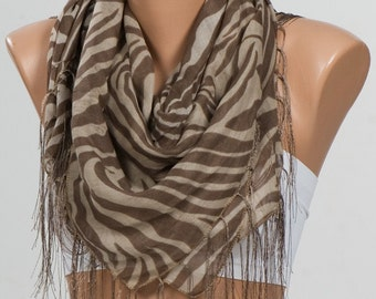 Big Sale. NEW Sarf with fringe. Holiday Scarf or Shawl. Mothers Day ScarfBeige and Brown Scarf.