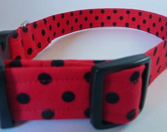 """Polka Dot Dog Collar - Red and Black Polka-Dot-NO Extra Charge for colored buckles - """"Rusty"""""""