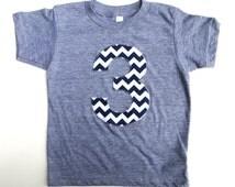 Number 3 Birthday Shirt- Any Birthday Number Triblend Grey TShirt with navy Chevron