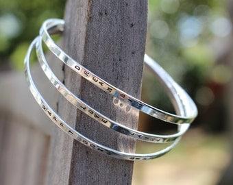 Silver Bangle, Personalized Bracelet, Skinny Sterling Silver Hand Stamped Personalized Bangle