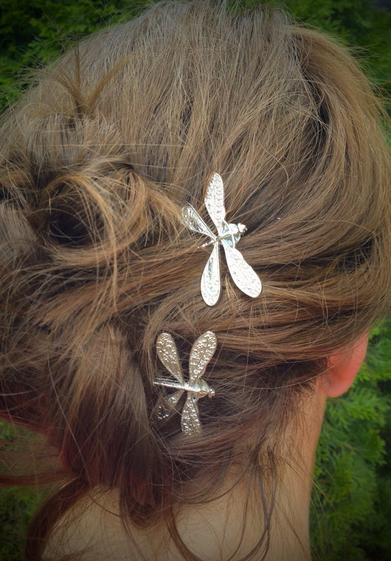 Dragonfly Bobby Pins Set Of Two Antique Silver Nickel Free
