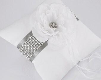 Wedding pillow / ring pillows - silver