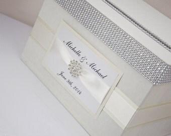 Wedding Card box / Card holder / Wedding money box - ivory / ecru with nameplate