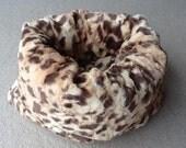 King Cheetah Teacup Faux Fur Pet CuddlePuff Bed
