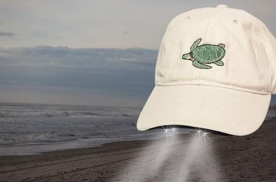 Flashlight Hat- Sea Turtle custom embroidered- Hat with Headlights perfect for night walks on the beach- Loggerhead Turtle Hat