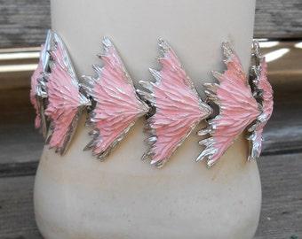 Signed Ledo demi parure bracelet & earrings, Polcini jewelry, brushed silver tone metal, pink enamel, hard to find collectible, 1950's era