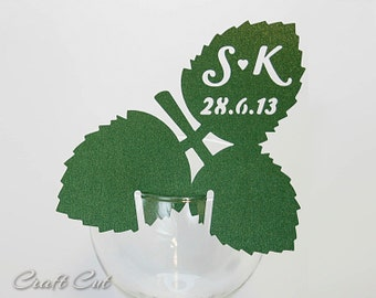 Summer Wedding Place Card (20) Leaf place cards Custom Strawberry Leaves Personalized Garden Party Decoartion