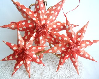 Christmas or Valentine ornament 3D paper stars set of 3, red with white polka dots