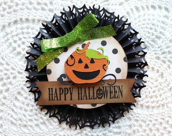 Halloween pumpkin rosette, scrapbook embellishment, halloween ornament, Halloween card embellishment,Halloween decoration