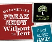 4 inch squares - Family Funny - instant digital download used to make coasters, cards, tags
