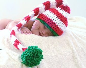Crochet Baby Elf Hat, Crochet Baby Christmas Hat, Crochet Christmas Baby Hat, Crochet Baby Photo Prop Hat, Long Tail Beanie
