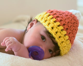 Crochet Baby Candy Corn Hat, Baby Halloween Hat, Fall Baby Hat, Halloween Baby Costume Accessories