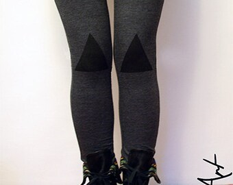 Black triangles hand PAINTED leggings in graphite