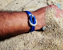 Men's nautical bracelet in neon blue climb rope, unisex