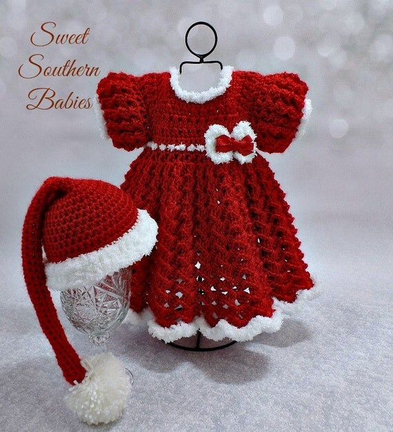 Baby Girls Red & White Christmas Dress by SweetSouthernBabies