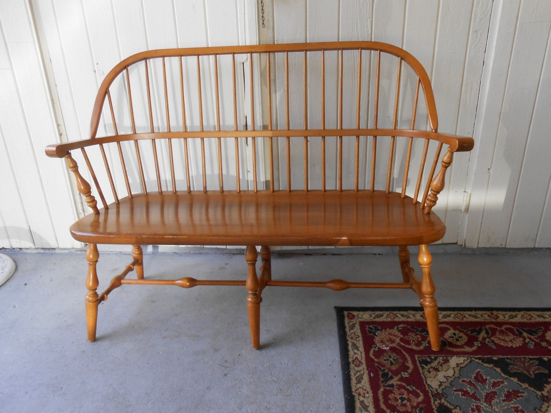 Vintage Ethan Allen Spindle Back Deacon 39 S Bench Maple
