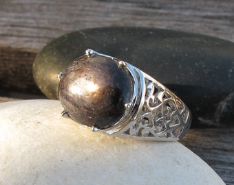 Black Sapphire Star Ring- Filigree Statement Ring- September Birthstone Ring- Unisex Black Gemstone Ring- Filigree Engagement Ring
