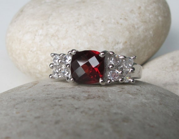 garnet ring engagement ring promise ring her and his ring. Black Bedroom Furniture Sets. Home Design Ideas