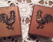 Vintage 1960's Wood & Copper Rooster Salt and Pepper Shakers with Stoppers Made by V.G. Japan