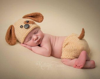 Newborn Puppy Hat and Matching Shortie Pants, Hand Knitted, newborn, Photography Prop