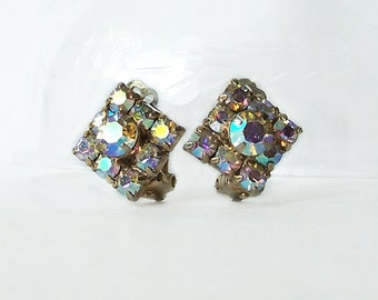 Vintage Aurora Borealis Earrings Square Clip on