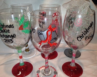 Christmas Wine Glasses, Custom Made, Hand Painted, Personalized, Christmas Glasses, Painted