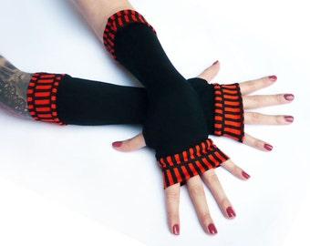 Black fingerless gloves , arm warmers with orange  edges - Mittens Cotton Yoga Goth Chic modern Cycling Sport dark retro