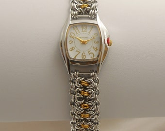 Two-tone watch with handmade chainmaille band