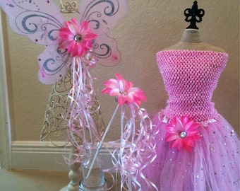 Fairy Costume, Pink Fairy Costume, Pink Fairy Wings, Pink Tutu, Fairy Party Favors, Tinkerbell Costume, Tinkerbell Wings, Fairy