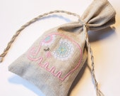Small linen gift bags  gray linen  personalized Christmas tote bag