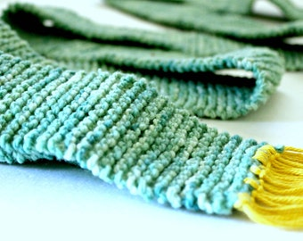 Handspun Kettle Dyed Light Teal Scarf with Bright Yellow Fringe