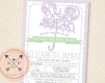 Printable DIY Fairy Tale Inspired Umbrella Baby Shower Invitation Design