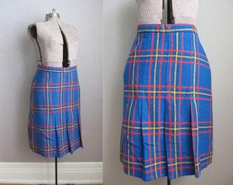 1960s Wool Skirt Blue Red Pleated Vintage Kilt / Large XL