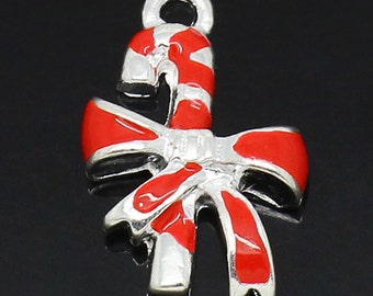 2 Pieces Silver Plated Red Enamel Christmas Candy Cane Charms