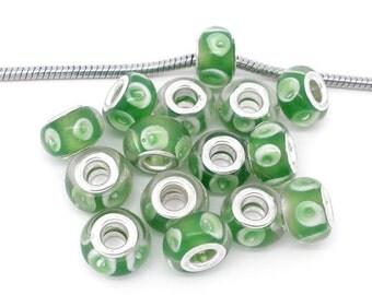4 Pieces Green Glass Lampwork European Beads