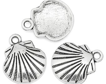 10 pieces Antique Silver Shell Charms