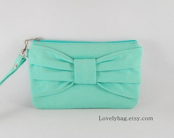 SUPER SALE - Mint Bow Clutch - iPhone 5 Wallet, iPhone 5 Wristlet, Cell Phone Wristlet, Cosmatic Bag,Camera Bag,Zipper Pouch - Made To Order
