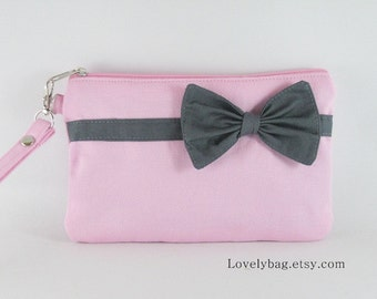 SUPER SALE - Light Pink with Little Gray Bow Clutch - iPhone 5 Wallet, iPhone Wristlet, Cell Phone Wristlet, Zipper Pouch - Made To Order