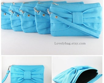 SUPER SALE - Set of 5 Blue Bow Clutches - Bridal Clutches, Bridesmaid Clutch, Bridesmaid Wristlet, Wedding Gift - Made To Order