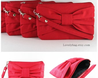 SUPER SALE - Set of 9 Bridesmaids Clutches, Wedding Clutches / Red Bow Clutches - Personalized Monogram Zipper Pull - Made To Order