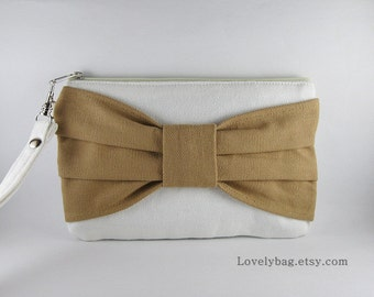SUPER SALE - Ivory with Tan Bow Clutch - Bridal Clutch,Bridesmaid Wristlet,Wedding Gift,Cosmetic Bag,Camera Bag,Zipper Pouch - Made To Order