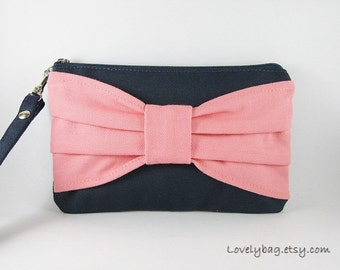 SUPER SALE - Navy Blue with Peach Bow Clutch - iPhone 5 Wallet, iPhone Wristlet, Cell Phone Bag, Cosmetic Bag, Zipper Pouch - Made To Order